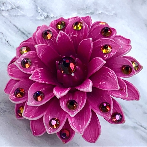 Tarina Tarantino Purple Dahlia Vintage Flower Ring